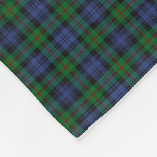 Murray Clan Green and Royal Blue Tartan Fleece Blanket