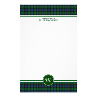 Murray Clan Tartan Green and Blue Plaid Monogram Personalized Stationery
