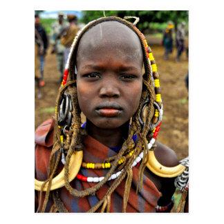Mursi Girl Wearing Tusk Headdress Postcard