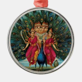 Murugan Kartikeyan Skanda Subrahmanyan Hindu Deity Silver-Colored Round Decoration