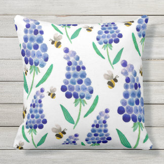 Muscari & Bumble Bees Cushion