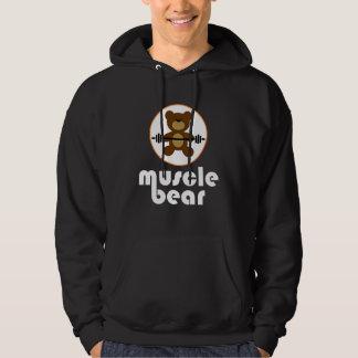 Muscle Bear Teddy Bear White Hoodie