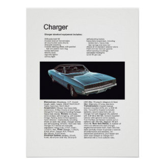 Muscle Car 68 Charger Ad Poster