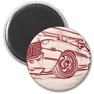 Muscle car 6 cm round magnet