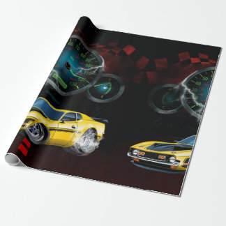 Muscle car doing a burn out in the Street Wrapping Paper