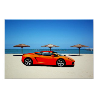 Muscle Car Orange on Beach Poster