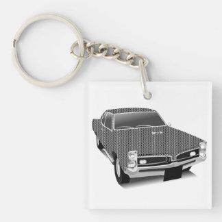 muscle car Single-Sided square acrylic key ring