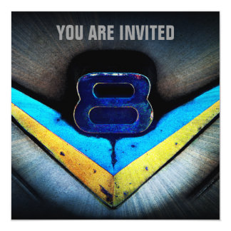 Muscle Car V8 Power and Chrome 13 Cm X 13 Cm Square Invitation Card