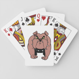 Muscled Bulldog playing cards