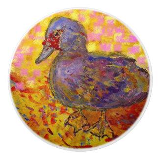 muscovy duck ceramic knob