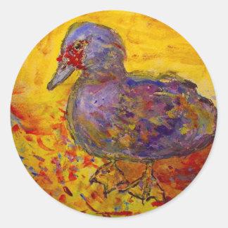 muscovy duck round sticker