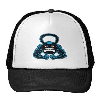 muscular angry kettlebell mascot cap