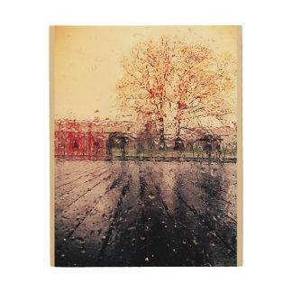 Museum storm rain droplets wood print
