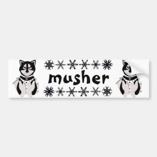 """Musher"" Malamute Sled Dogs Bumper Sticker"