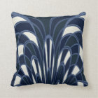 Mushroom Abstract - Art Deco - Navy Cushion