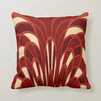 Mushroom Abstract - Art Deco Red Cushions