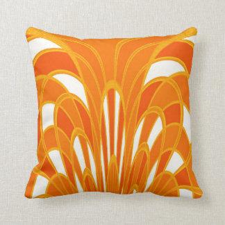 Mushroom Abstract - Art Deco - Tangerine Throw Pillow
