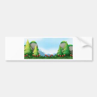 Mushroom and field bumper sticker