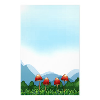 Mushroom and field personalized stationery