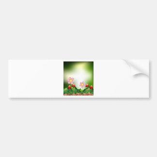 Mushroom and flowers bumper sticker