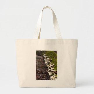 mushroom_downed tree_moss_winter large tote bag
