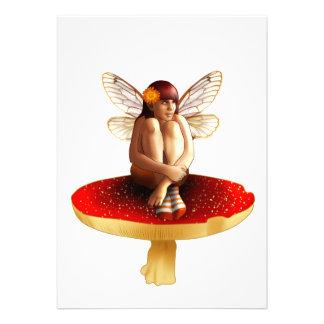 Mushroom fairy personalized invites