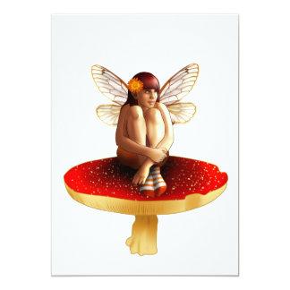 """Mushroom fairy 5"""" x 7"""" invitation card"""