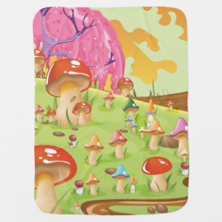 Mushroom fields Landscape Cartoon Baby Blanket