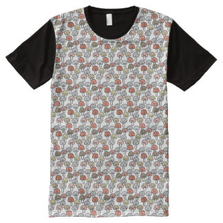 Mushroom friends hanging out Mushrooms Toadstool All-Over Print T-Shirt