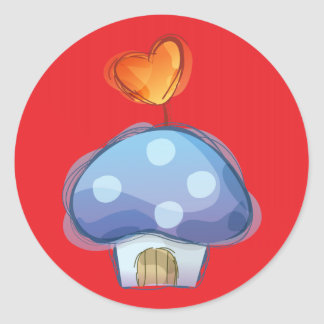 Mushroom House on Red Classic Round Sticker