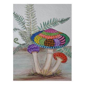 Mushroom hunting. postcard