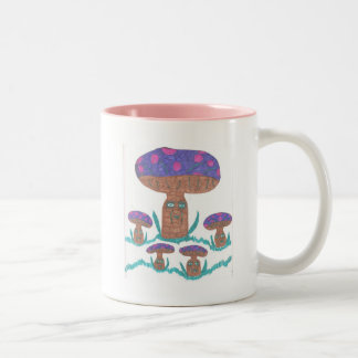 Mushroom Mama and Her Four Little ones Two-Tone Coffee Mug