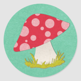Mushroom on Teal Classic Round Sticker