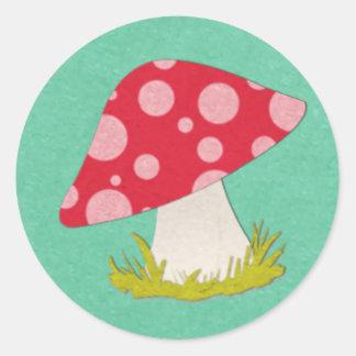 Mushroom on Teal Round Sticker