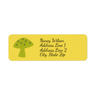 Mushroom Toadstool Return Address Label Lime Green