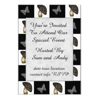 Mushrooms and Butterflies Checkerboard Personalized Invitation
