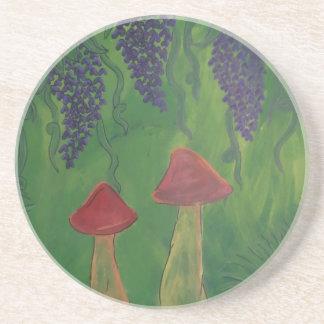 Mushrooms and flowers. MF logo Beverage Coasters