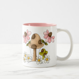 Mushrooms and Flowers Two-Tone Coffee Mug