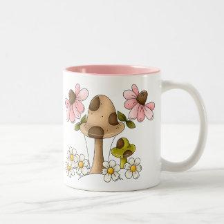 Mushrooms and Flowers Two-Tone Coffee Mug