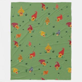 Mushrooms Drawing Fleece Blanket, Large