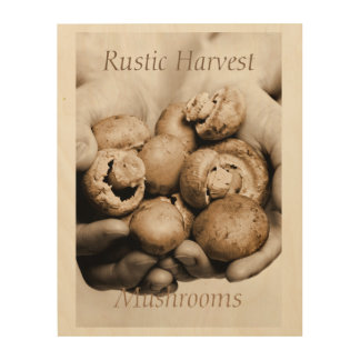 Mushrooms food photograph rustic harvest wood print