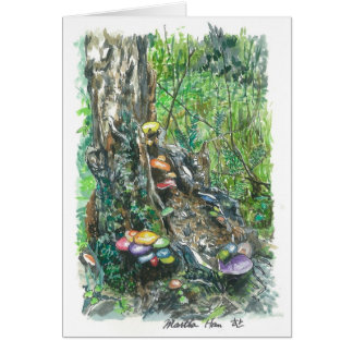 mushrooms on a decaying  tree trunk card