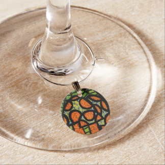 Mushrooms Orange And Green Wine Charm