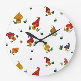 Mushrooms Round (Large) Wall Clock