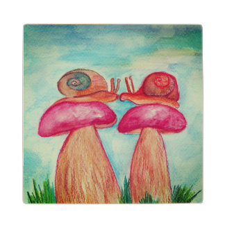 Mushrooms Snails illustration Wooden coaster