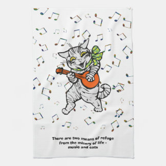 Music and Cats Quote Tea Towel