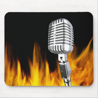 music and flame mouse pad
