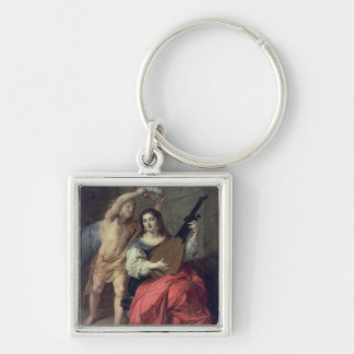 Music and Love, 1652 Silver-Colored Square Key Ring