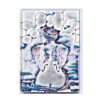 Music Angel Watercolor Ink Art Canvas Print