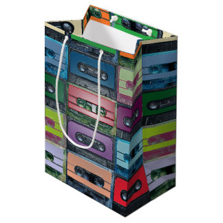 Music art plastic style cassette pattern medium gift bag